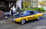 """Photo credit -Doug and Esther Cabral receive the keys today to the """"Goodguys Missile"""" 1971 Dodge Challenger from Goodguys President Marc Meadors."""