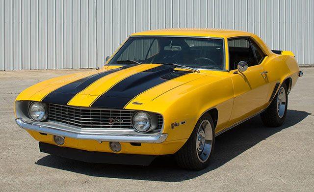 Yellow 1969 Camaro Z28 With Black Stripes
