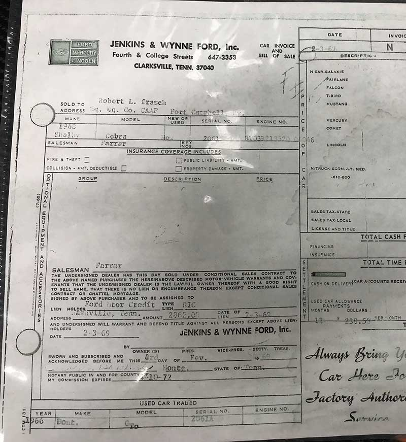 1968 Shelby GT500 KR Convertible survivor invoice