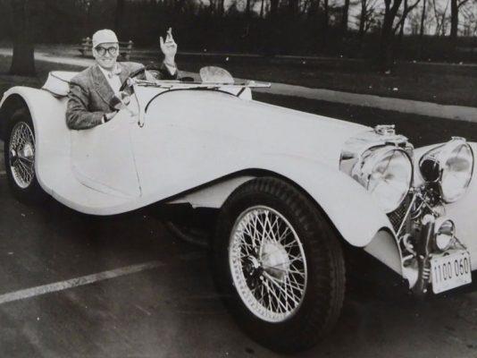Dave Garroway and his 1938 Jaguar SS 100 3.5 Litre Roadster