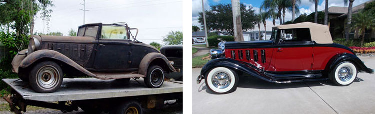 1933 Chrysler Imperial Convertible Coupe before-and-after photos